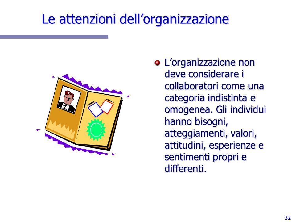 32 Le attenzioni dellorganizzazione Lorganizzazione non deve considerare i collaboratori come una categoria indistinta e omogenea. Gli individui hanno