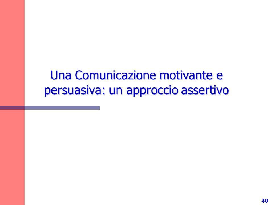 40 Una Comunicazione motivante e persuasiva: un approccio assertivo