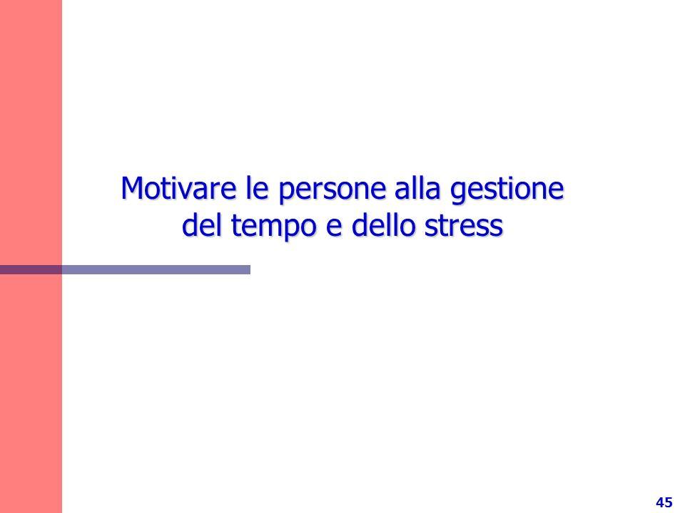 45 Motivare le persone alla gestione del tempo e dello stress