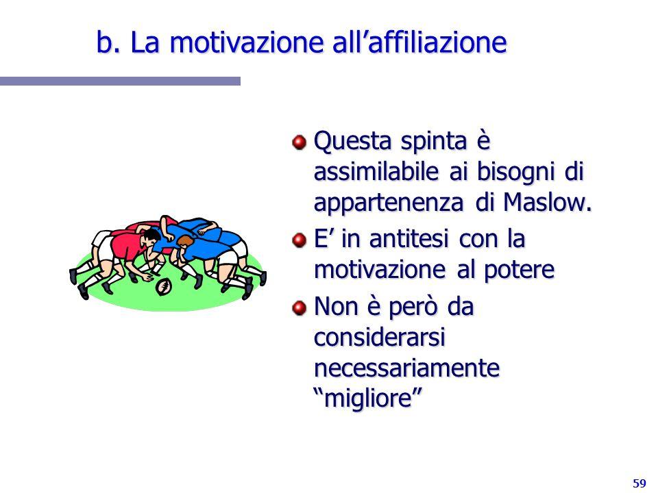 59 b. La motivazione allaffiliazione Questa spinta è assimilabile ai bisogni di appartenenza di Maslow. E in antitesi con la motivazione al potere Non