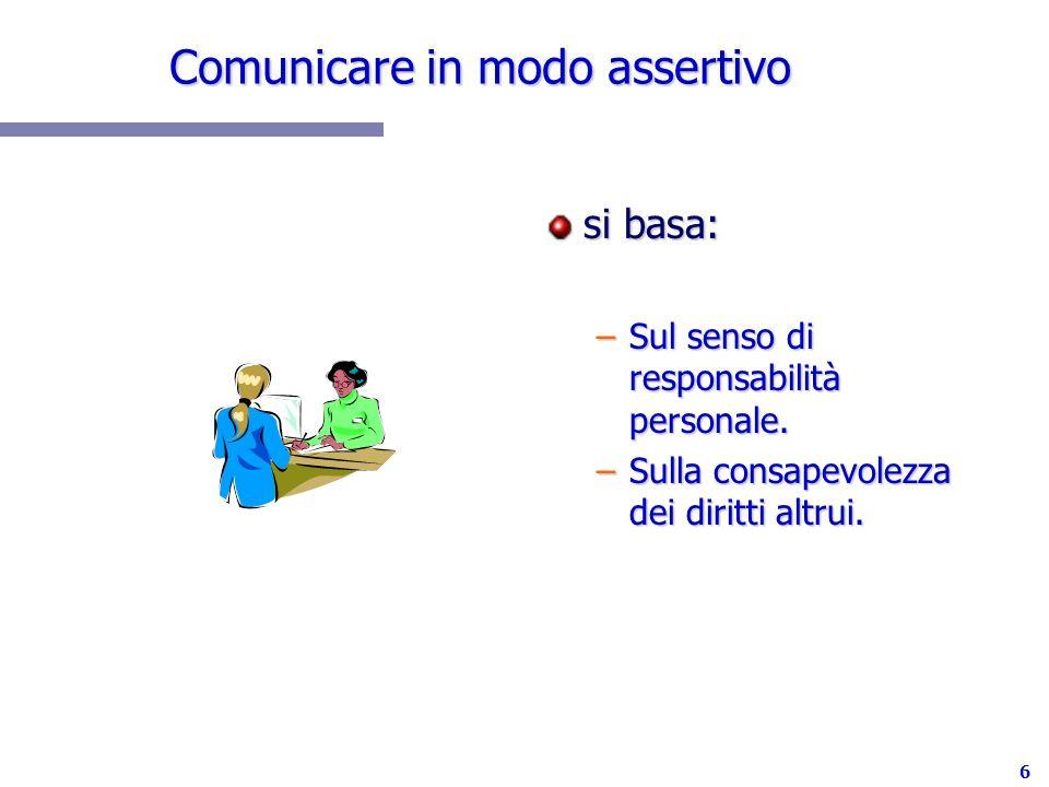 6 Comunicare in modo assertivo si basa: –Sul senso di responsabilità personale. –Sulla consapevolezza dei diritti altrui.