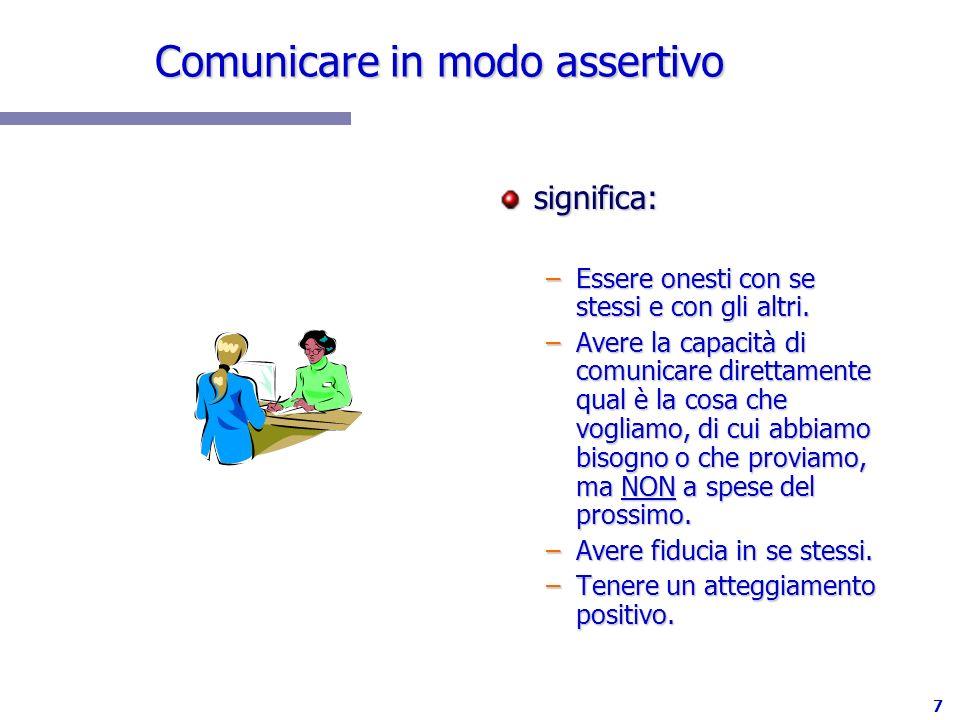 7 Comunicare in modo assertivo significa: –Essere onesti con se stessi e con gli altri. –Avere la capacità di comunicare direttamente qual è la cosa c