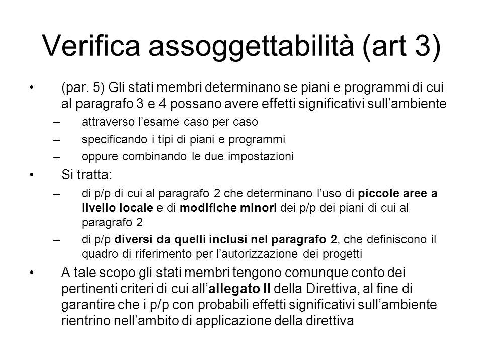 Verifica assoggettabilità (art 3) (par.