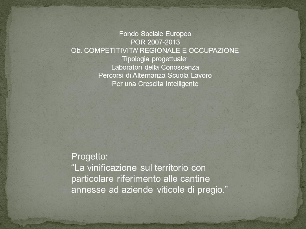 Progetto: La vinificazione sul territorio con particolare riferimento alle cantine annesse ad aziende viticole di pregio.
