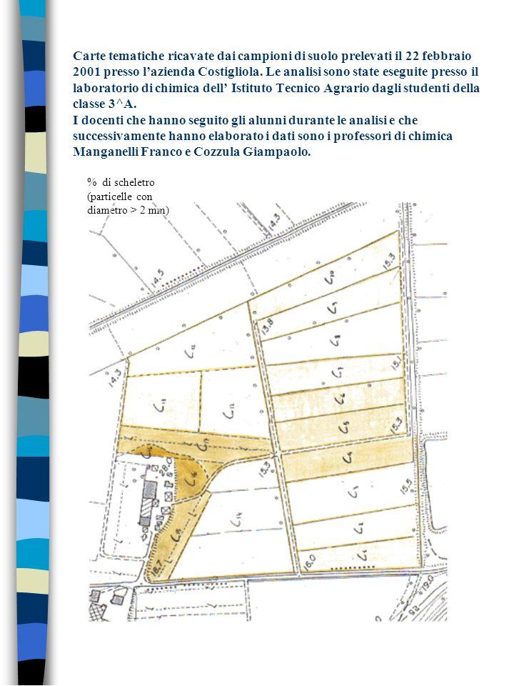 Carte tematiche ricavate dai campioni di suolo prelevati il 22 febbraio 2001 presso lazienda Costigliola. Le analisi sono state eseguite presso il lab