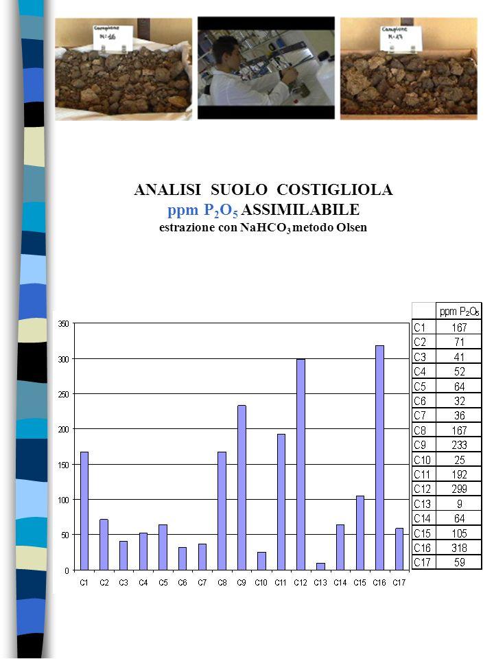 ANALISI SUOLO COSTIGLIOLA ppm P 2 O 5 ASSIMILABILE estrazione con NaHCO 3 metodo Olsen
