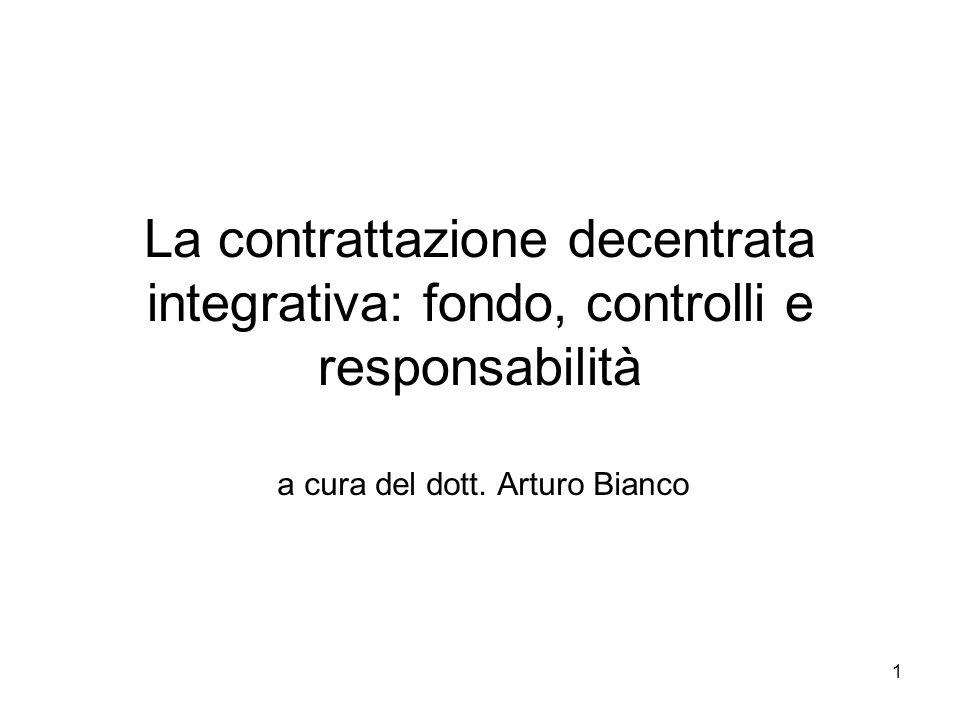 La contrattazione decentrata integrativa: fondo, controlli e responsabilità a cura del dott. Arturo Bianco 1