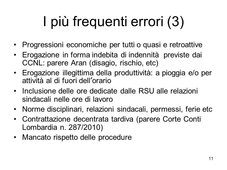 I più frequenti errori (3) Progressioni economiche per tutti o quasi e retroattive Erogazione in forma indebita di indennità previste dai CCNL: parere