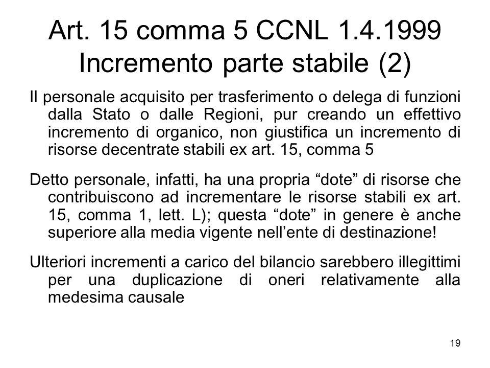 Art. 15 comma 5 CCNL 1.4.1999 Incremento parte stabile (2) Il personale acquisito per trasferimento o delega di funzioni dalla Stato o dalle Regioni,