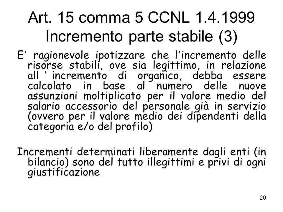 Art. 15 comma 5 CCNL 1.4.1999 Incremento parte stabile (3) E ragionevole ipotizzare che l incremento delle risorse stabili, ove sia legittimo, in rela