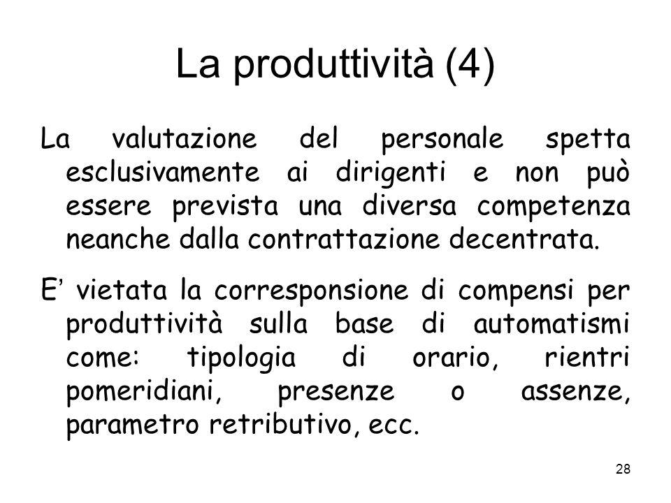 La produttività (4) La valutazione del personale spetta esclusivamente ai dirigenti e non può essere prevista una diversa competenza neanche dalla con