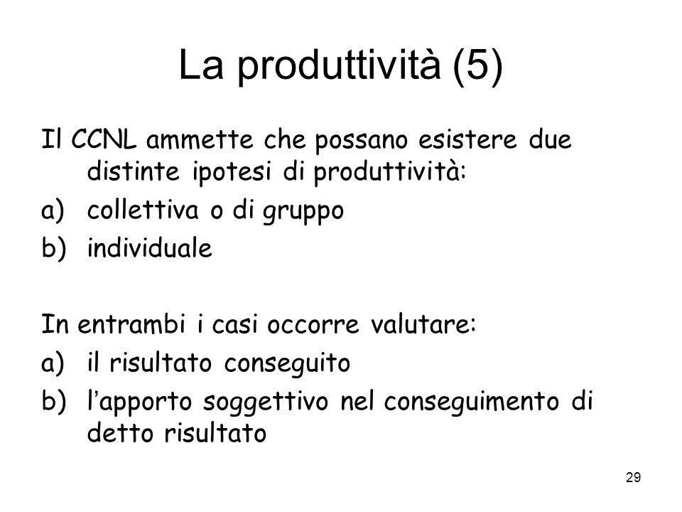 La produttività (5) Il CCNL ammette che possano esistere due distinte ipotesi di produttività: a)collettiva o di gruppo b)individuale In entrambi i ca