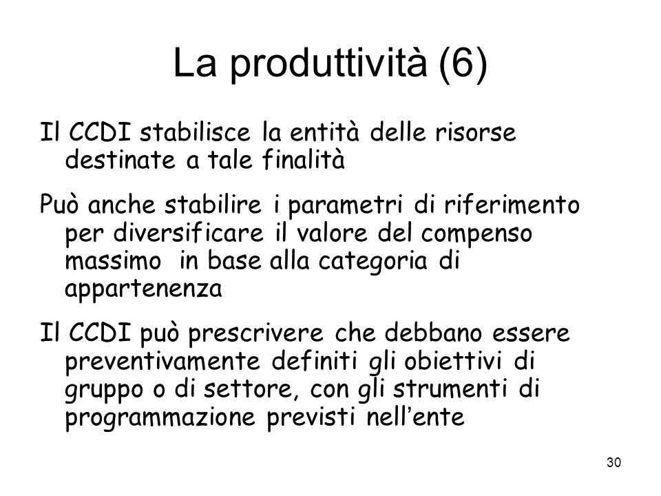 La produttività (6) Il CCDI stabilisce la entità delle risorse destinate a tale finalità Può anche stabilire i parametri di riferimento per diversific