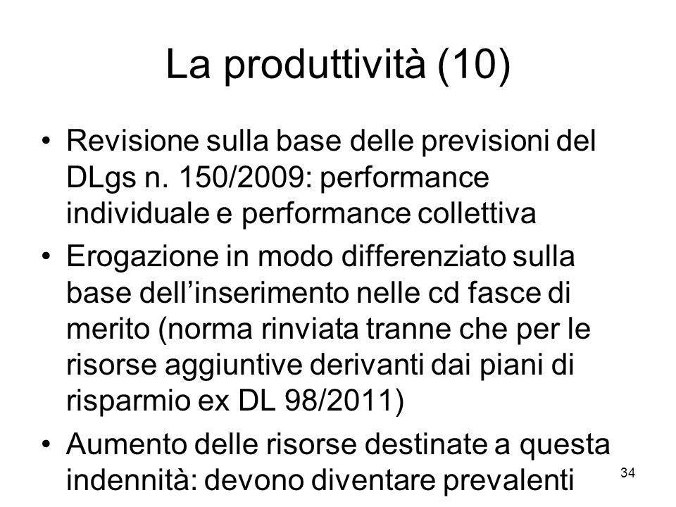 La produttività (10) Revisione sulla base delle previsioni del DLgs n. 150/2009: performance individuale e performance collettiva Erogazione in modo d