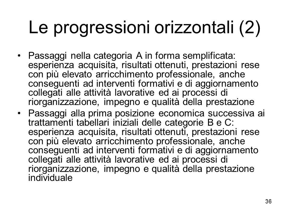 Le progressioni orizzontali (2) Passaggi nella categoria A in forma semplificata: esperienza acquisita, risultati ottenuti, prestazioni rese con più e