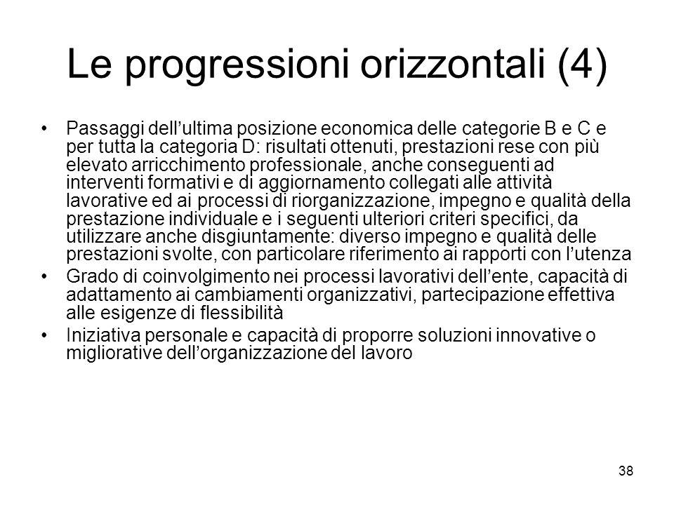 Le progressioni orizzontali (4) Passaggi dellultima posizione economica delle categorie B e C e per tutta la categoria D: risultati ottenuti, prestazi