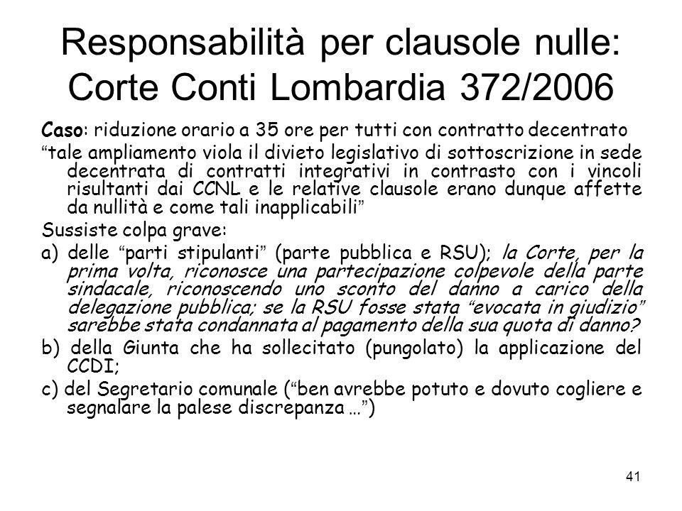 Responsabilità per clausole nulle: Corte Conti Lombardia 372/2006 Caso: riduzione orario a 35 ore per tutti con contratto decentrato tale ampliamento