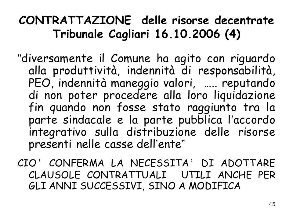 CONTRATTAZIONE delle risorse decentrate Tribunale Cagliari 16.10.2006 (4) diversamente il Comune ha agito con riguardo alla produttività, indennità di