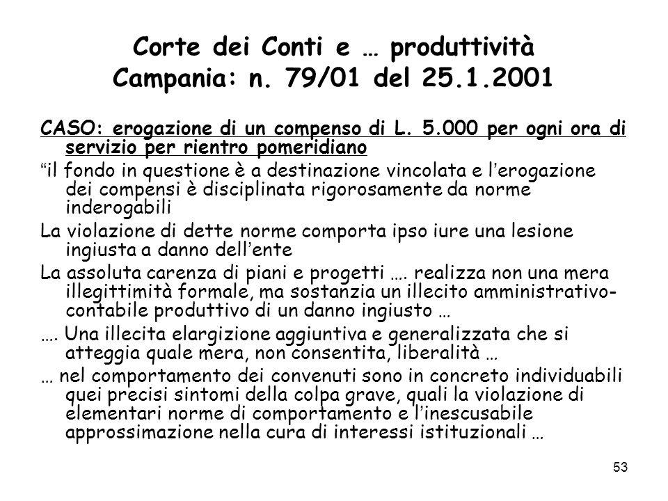 Corte dei Conti e … produttività Campania: n. 79/01 del 25.1.2001 CASO: erogazione di un compenso di L. 5.000 per ogni ora di servizio per rientro pom