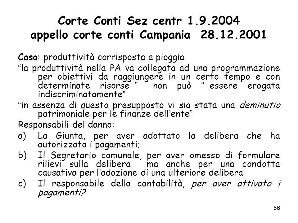 Corte Conti Sez centr 1.9.2004 appello corte conti Campania 28.12.2001 Caso: produttività corrisposta a pioggia la produttività nella PA va collegata