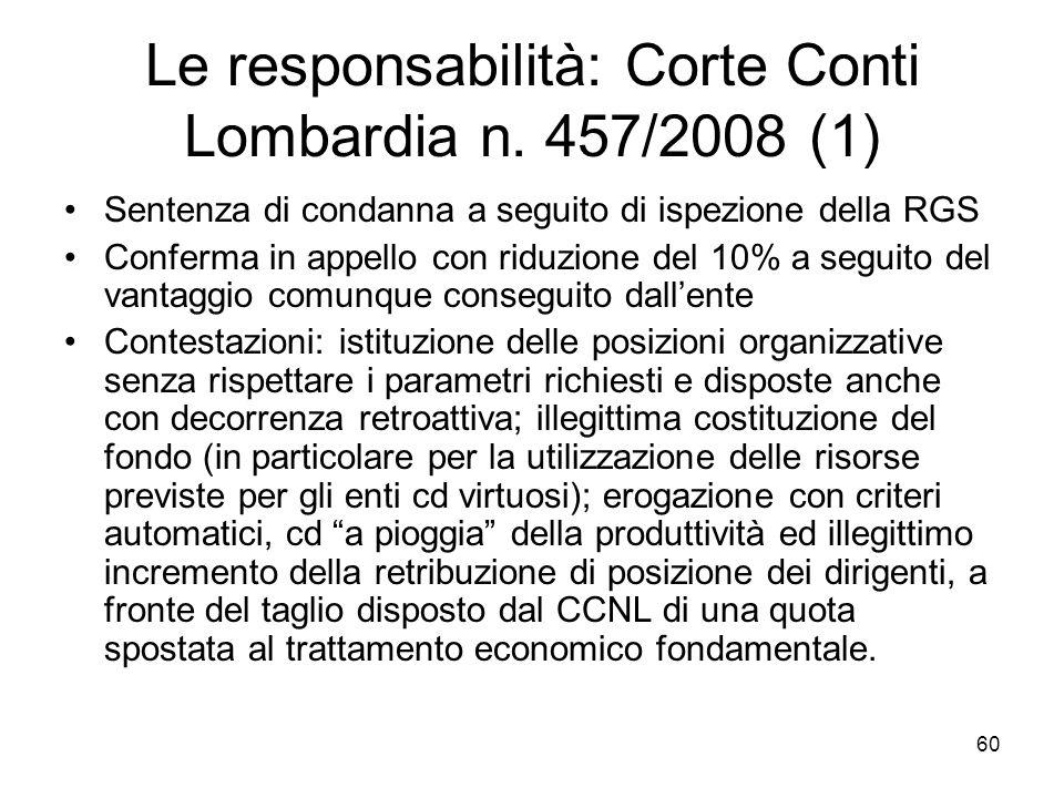 Le responsabilità: Corte Conti Lombardia n. 457/2008 (1) Sentenza di condanna a seguito di ispezione della RGS Conferma in appello con riduzione del 1
