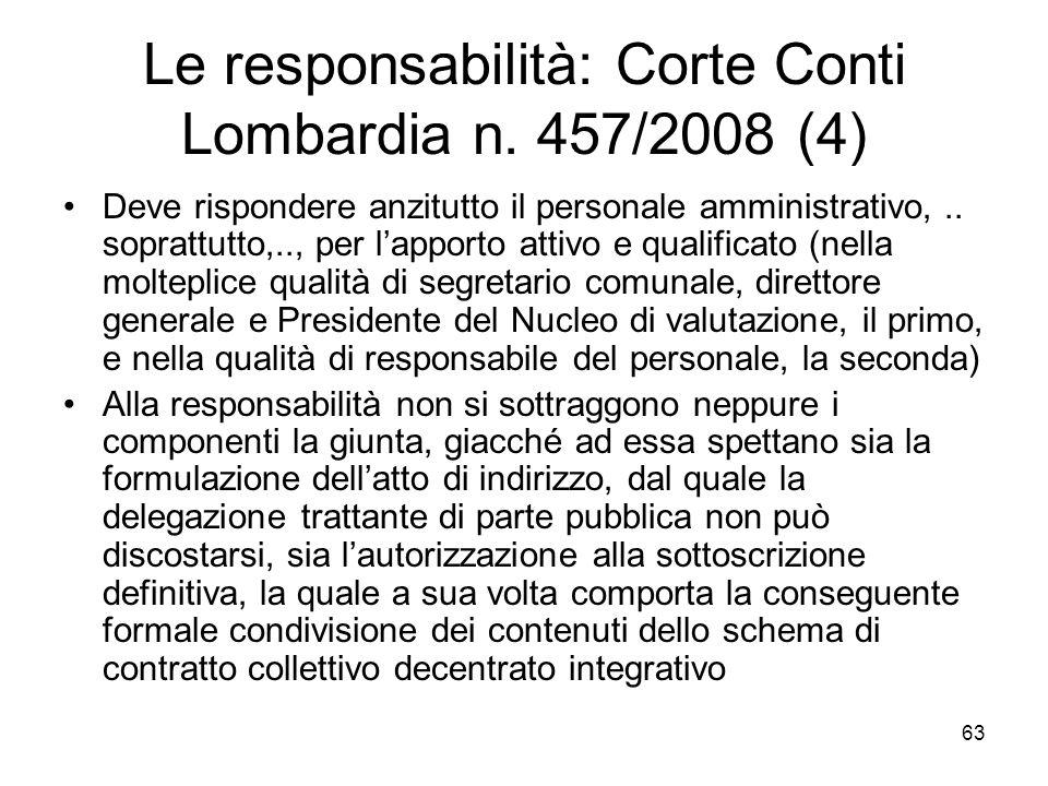 Le responsabilità: Corte Conti Lombardia n. 457/2008 (4) Deve rispondere anzitutto il personale amministrativo,.. soprattutto,.., per lapporto attivo