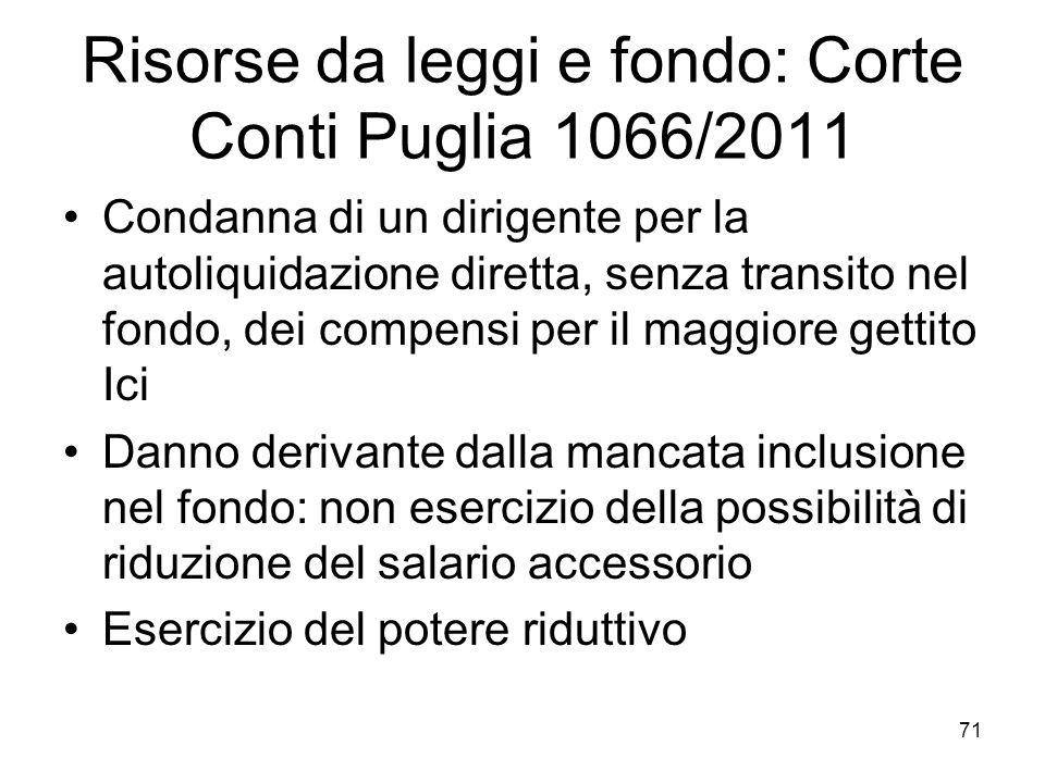 Risorse da leggi e fondo: Corte Conti Puglia 1066/2011 Condanna di un dirigente per la autoliquidazione diretta, senza transito nel fondo, dei compens