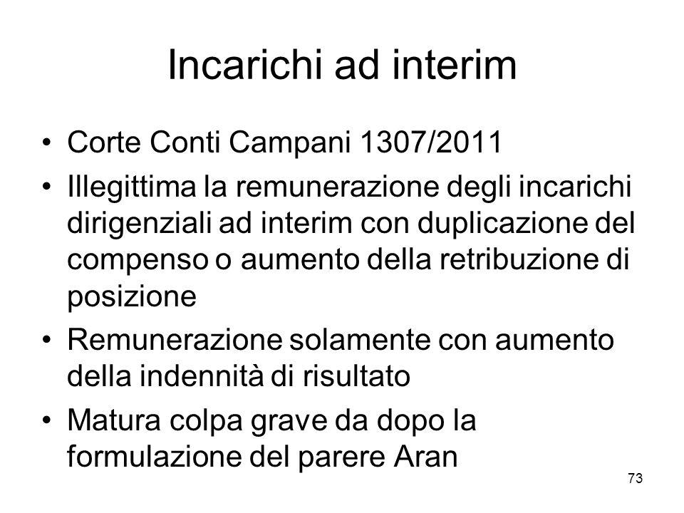 Incarichi ad interim Corte Conti Campani 1307/2011 Illegittima la remunerazione degli incarichi dirigenziali ad interim con duplicazione del compenso