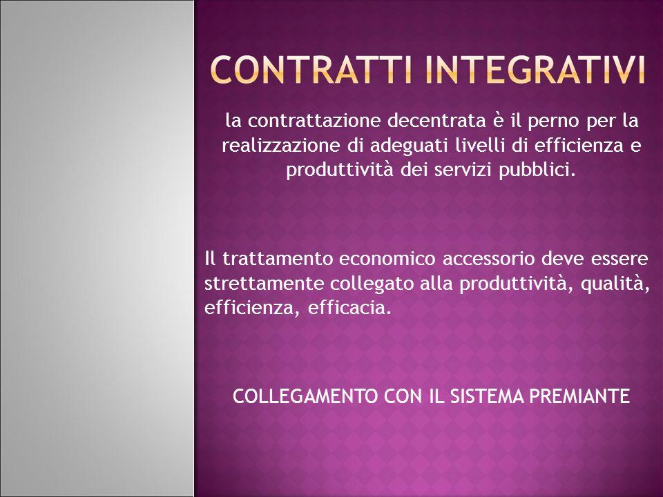 la contrattazione decentrata è il perno per la realizzazione di adeguati livelli di efficienza e produttività dei servizi pubblici. Il trattamento eco