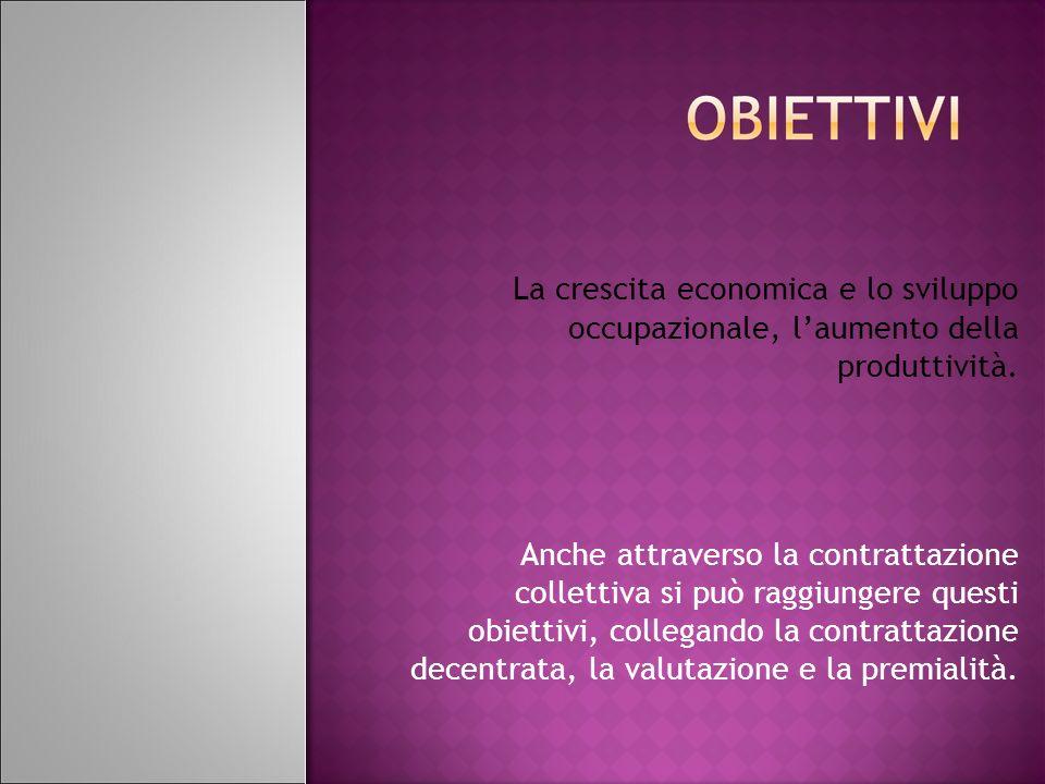 Riduzione numero dei contratti Durata dei contratti Crescita delle retribuzioni Snellimento procedure di contrattazione Incentivi economici collegati alla qualità