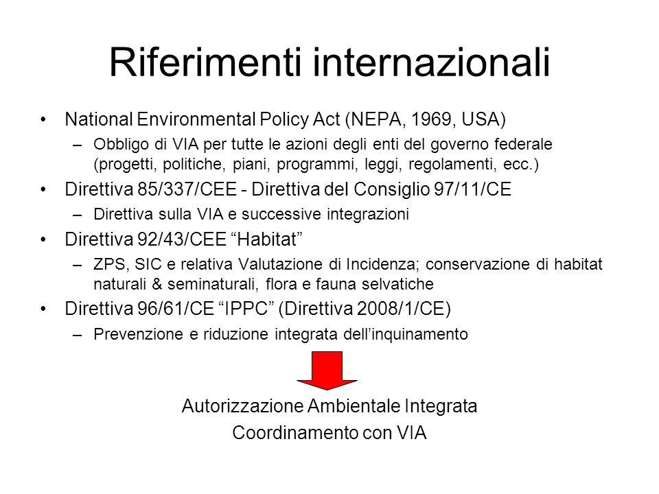 Riferimenti internazionali National Environmental Policy Act (NEPA, 1969, USA) –Obbligo di VIA per tutte le azioni degli enti del governo federale (progetti, politiche, piani, programmi, leggi, regolamenti, ecc.) Direttiva 85/337/CEE - Direttiva del Consiglio 97/11/CE –Direttiva sulla VIA e successive integrazioni Direttiva 92/43/CEE Habitat –ZPS, SIC e relativa Valutazione di Incidenza; conservazione di habitat naturali & seminaturali, flora e fauna selvatiche Direttiva 96/61/CE IPPC (Direttiva 2008/1/CE) –Prevenzione e riduzione integrata dellinquinamento Autorizzazione Ambientale Integrata Coordinamento con VIA