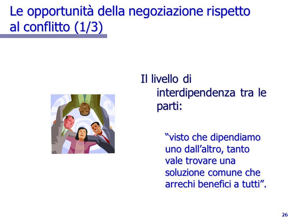 26 Le opportunità della negoziazione rispetto al conflitto (1/3) Il livello di interdipendenza tra le parti: visto che dipendiamo uno dallaltro, tanto