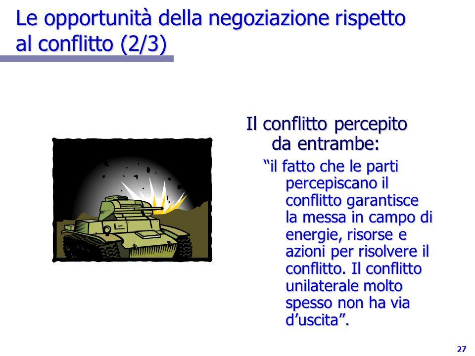 27 Le opportunità della negoziazione rispetto al conflitto (2/3) Il conflitto percepito da entrambe: il fatto che le parti percepiscano il conflitto g