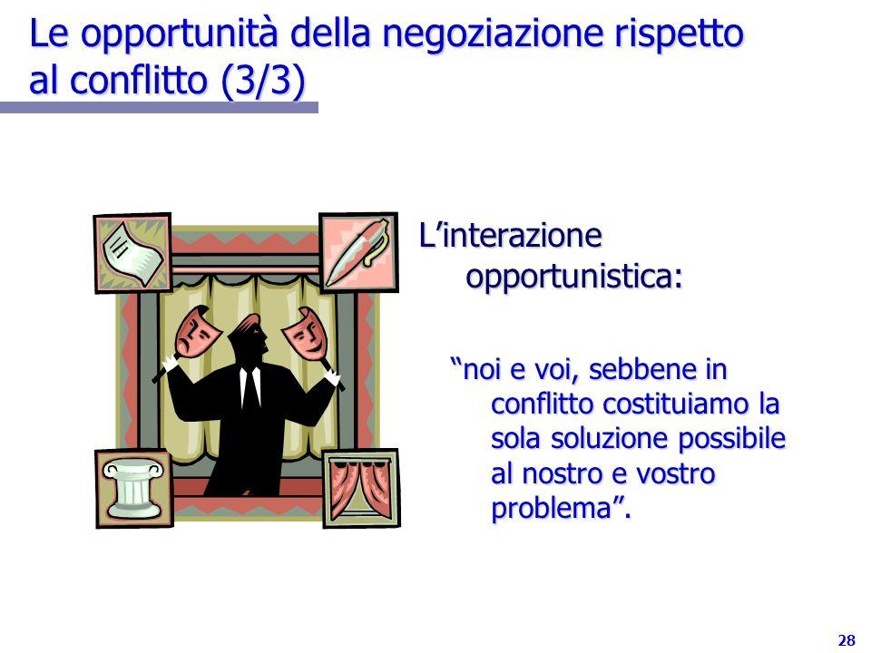 28 Le opportunità della negoziazione rispetto al conflitto (3/3) Linterazione opportunistica: noi e voi, sebbene in conflitto costituiamo la sola solu