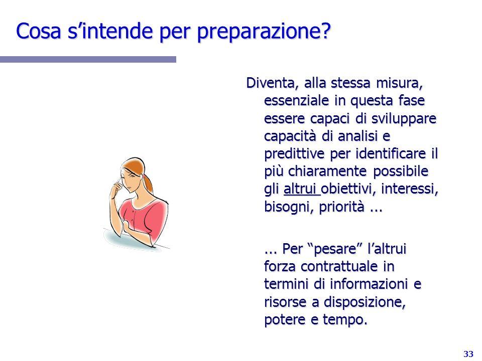 33 Cosa sintende per preparazione? Diventa, alla stessa misura, essenziale in questa fase essere capaci di sviluppare capacità di analisi e predittive