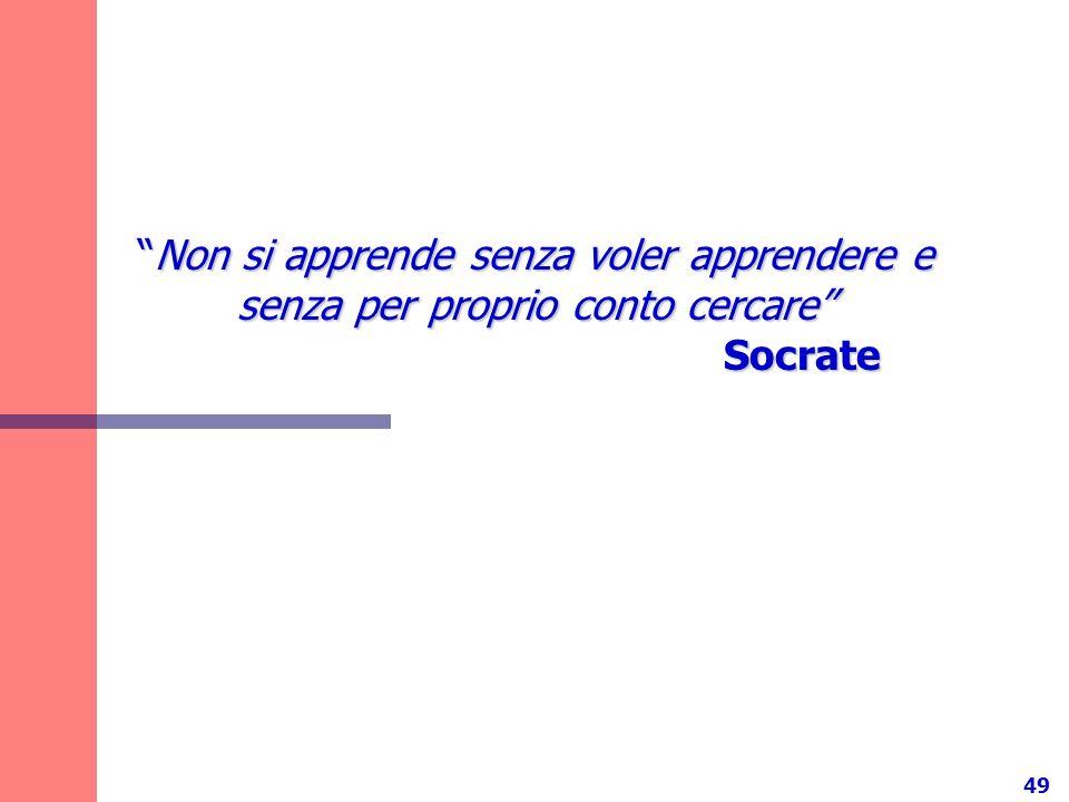 49 Non si apprende senza voler apprendere e senza per proprio conto cercare SocrateNon si apprende senza voler apprendere e senza per proprio conto ce