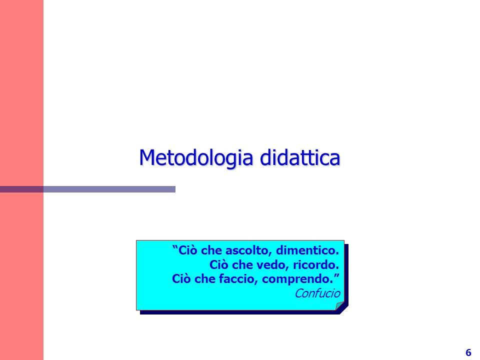 6 Metodologia didattica Ciò che ascolto, dimentico. Ciò che vedo, ricordo. Ciò che faccio, comprendo. Confucio Ciò che ascolto, dimentico. Ciò che ved