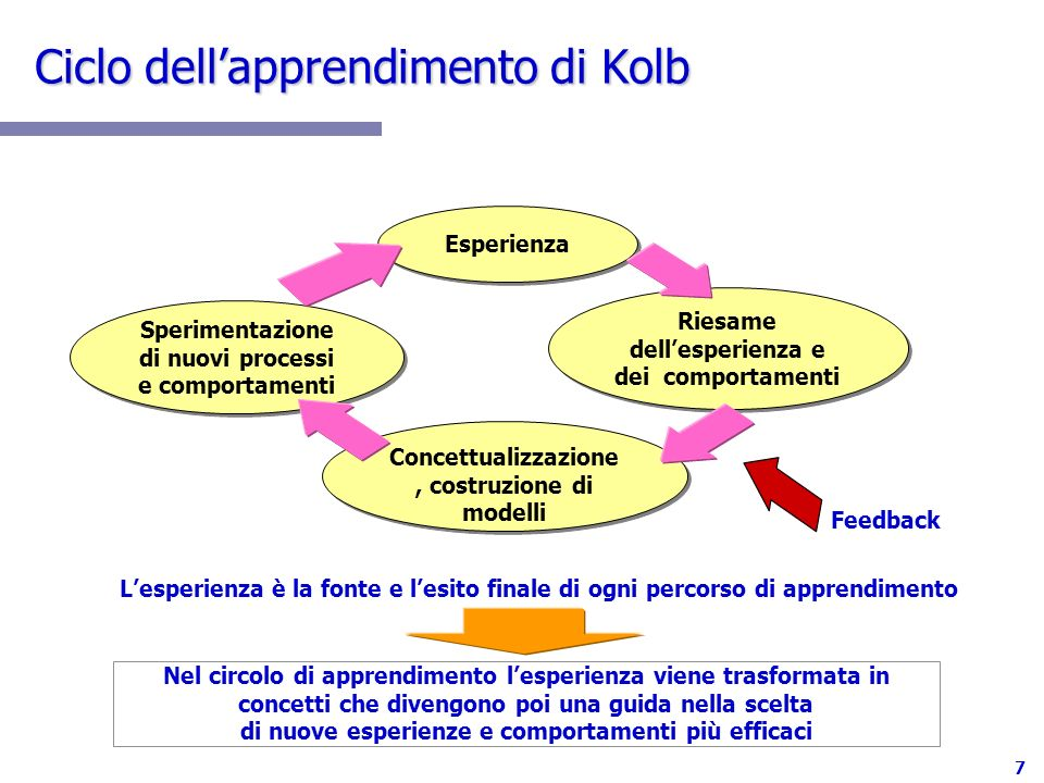 7 Ciclo dellapprendimento di Kolb Esperienza Sperimentazione di nuovi processi e comportamenti Sperimentazione di nuovi processi e comportamenti Riesa