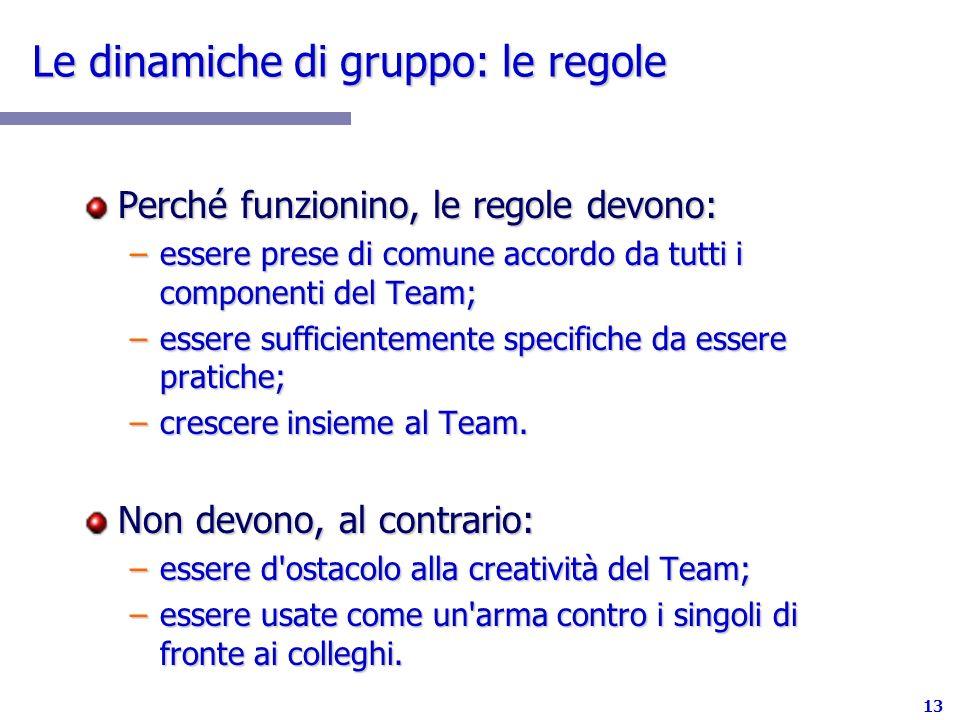 13 Le dinamiche di gruppo: le regole Perché funzionino, le regole devono: –essere prese di comune accordo da tutti i componenti del Team; –essere suff