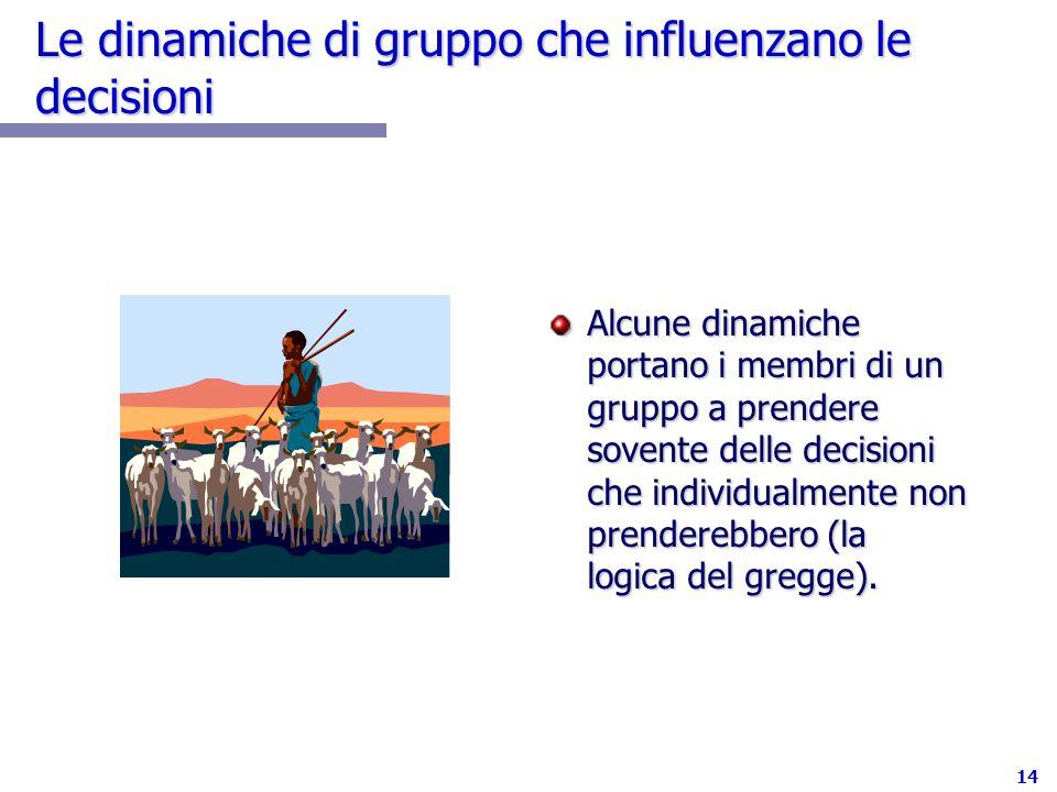 14 Le dinamiche di gruppo che influenzano le decisioni Alcune dinamiche portano i membri di un gruppo a prendere sovente delle decisioni che individua
