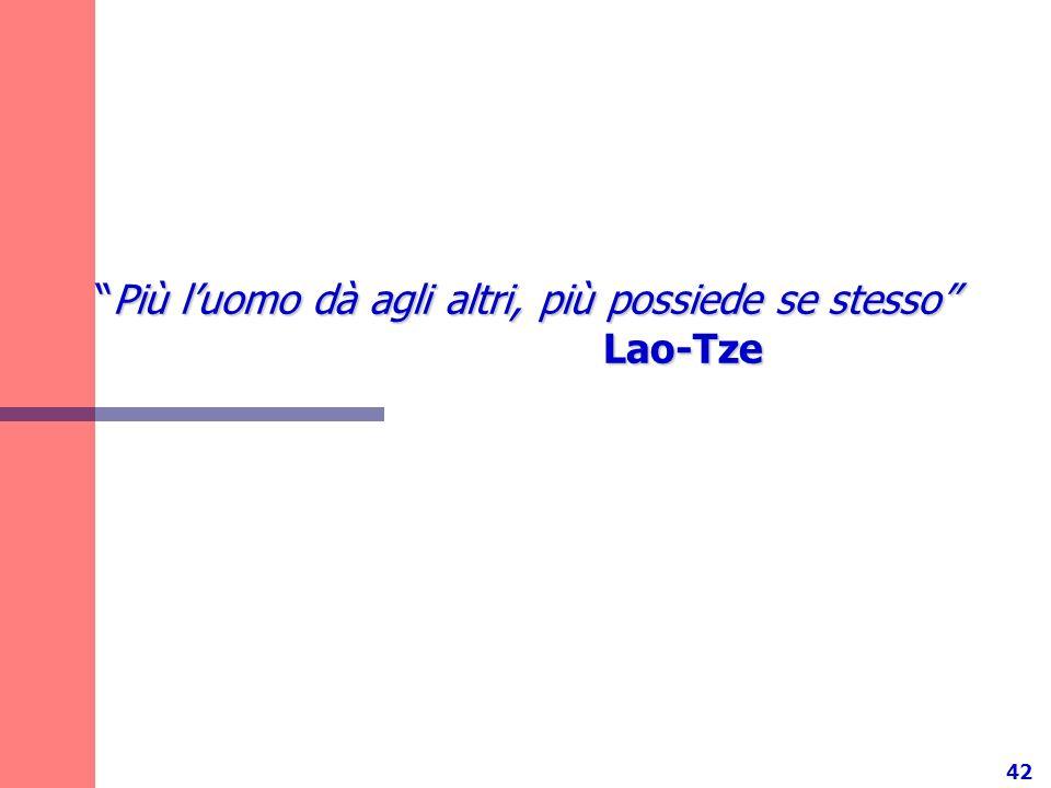 42 Più luomo dà agli altri, più possiede se stesso Lao-TzePiù luomo dà agli altri, più possiede se stesso Lao-Tze