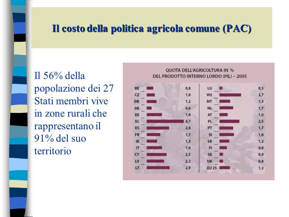 Il costo della politica agricola comune (PAC) La spesa agricola è finanziata da due fondi I pilastro della PAC il FEAGA (Fondo europeo agricolo di garanzia) finanzia esclusivamente le misure di mercato, i pagamenti diretti e altre misure (azioni di promozione e informazione, misure veterinarie…) che ricadono nel I pilastro della PAC FEASR II pilastro della PAC il FEASR (Fondo europeo agricolo per lo sviluppo rurale) finanzia esclusivamente le spese per lo sviluppo rurale (II pilastro della PAC) della programmazione 2007-2013