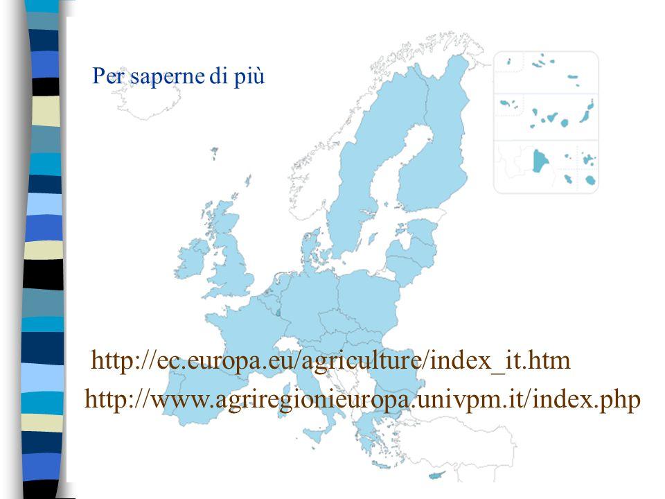 Per saperne di più http://ec.europa.eu/agriculture/index_it.htm http://www.agriregionieuropa.univpm.it/index.php