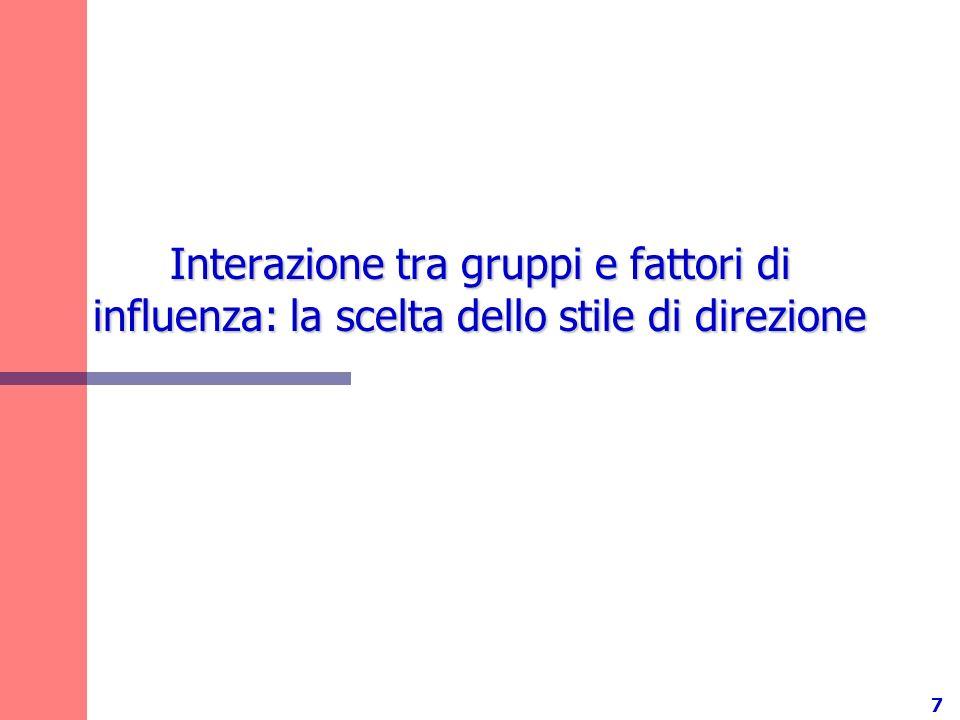 7 Interazione tra gruppi e fattori di influenza: la scelta dello stile di direzione
