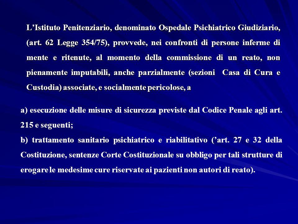 LIstituto Penitenziario, denominato Ospedale Psichiatrico Giudiziario, (art. 62 Legge 354/75), provvede, nei confronti di persone inferme di mente e r