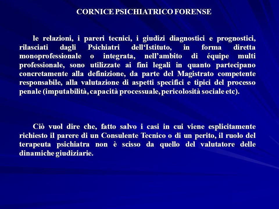 CORNICE PSICHIATRICO FORENSE le relazioni, i pareri tecnici, i giudizi diagnostici e prognostici, rilasciati dagli Psichiatri dellIstituto, in forma d