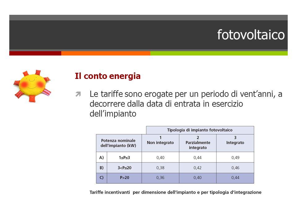 fotovoltaico Il conto energia Le tariffe sono erogate per un periodo di ventanni, a decorrere dalla data di entrata in esercizio dellimpianto