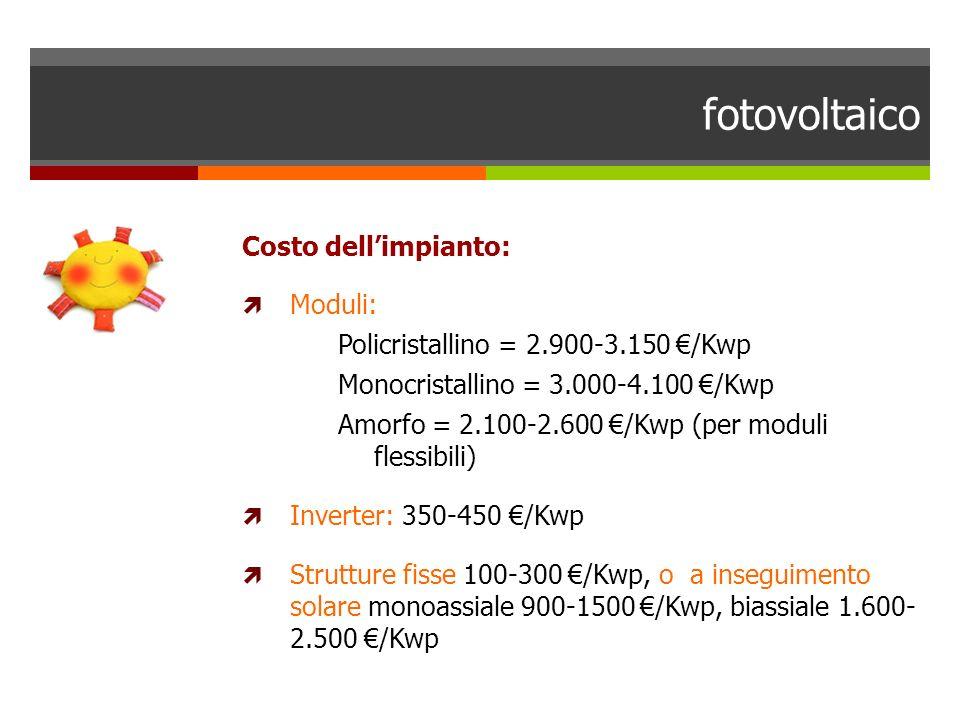 fotovoltaico Costo dellimpianto: Moduli: Policristallino = 2.900-3.150 /Kwp Monocristallino = 3.000-4.100 /Kwp Amorfo = 2.100-2.600 /Kwp (per moduli f