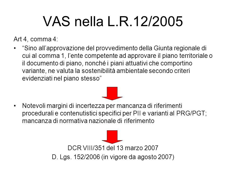 VAS nella L.R.12/2005 Art 4, comma 4: Sino allapprovazione del provvedimento della Giunta regionale di cui al comma 1, lente competente ad approvare il piano territoriale o il documento di piano, nonché i piani attuativi che comportino variante, ne valuta la sostenibilità ambientale secondo criteri evidenziati nel piano stesso Notevoli margini di incertezza per mancanza di riferimenti procedurali e contenutistici specifici per PII e varianti al PRG/PGT; mancanza di normativa nazionale di riferimento DCR VIII/351 del 13 marzo 2007 D.