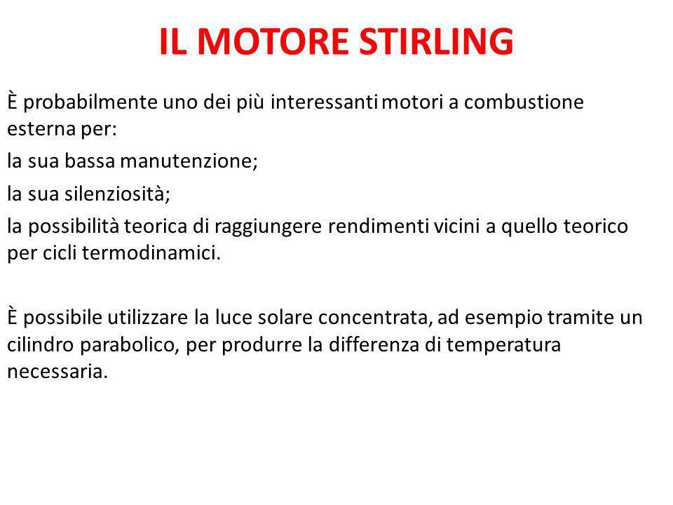 IL MOTORE STIRLING È probabilmente uno dei più interessanti motori a combustione esterna per: la sua bassa manutenzione; la sua silenziosità; la possi